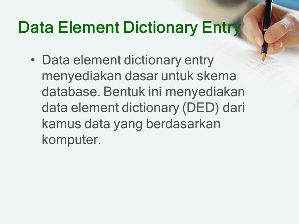 Data Element Dictionary Entry