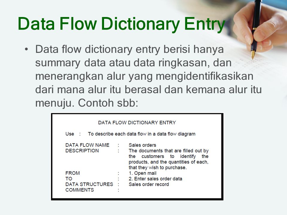 Data Flow Dictionary Entry