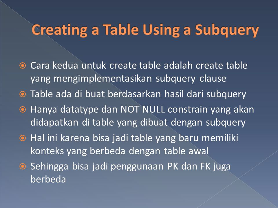 Creating a Table Using a Subquery