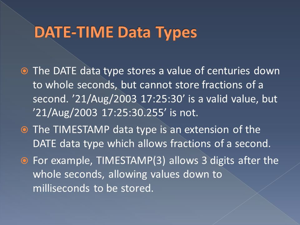 DATE-TIME Data Types