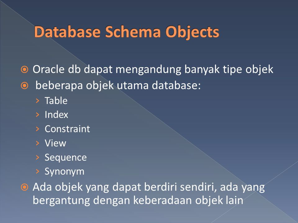 Database Schema Objects
