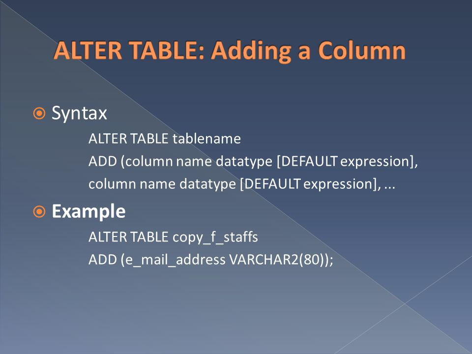ALTER TABLE: Adding a Column