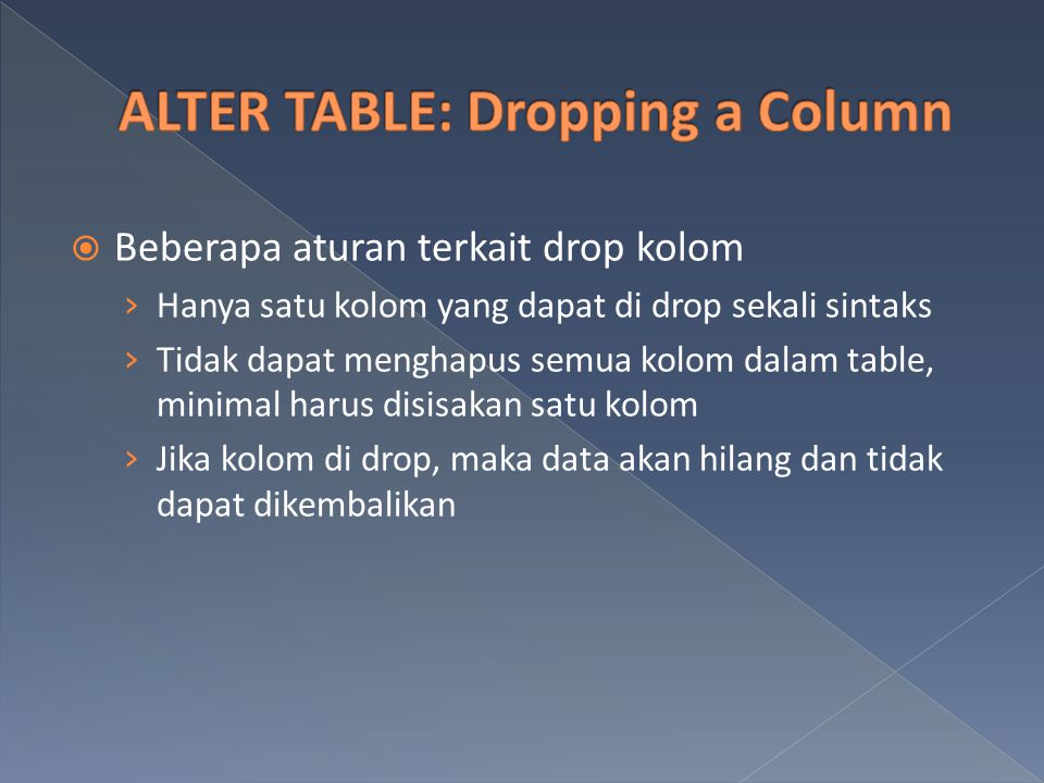 ALTER TABLE: Dropping a Column