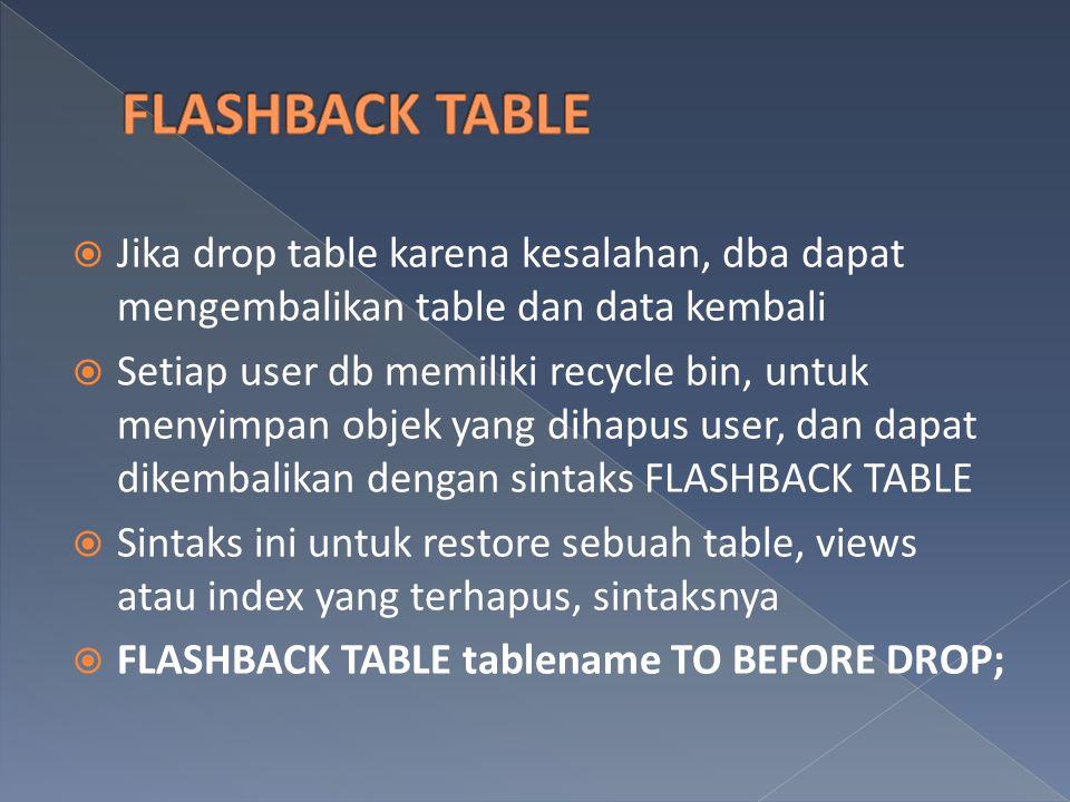 FLASHBACK TABLE Jika drop table karena kesalahan, dba dapat mengembalikan table dan data kembali.