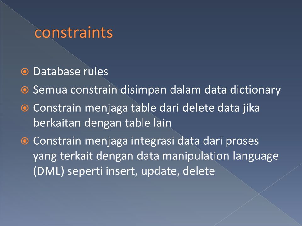 constraints Database rules