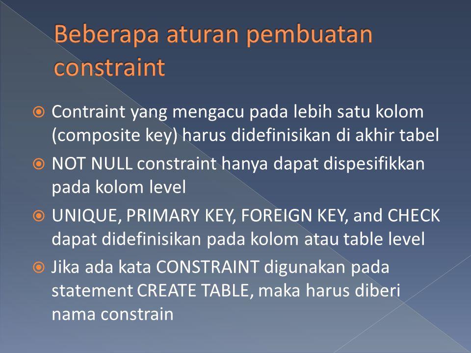 Beberapa aturan pembuatan constraint
