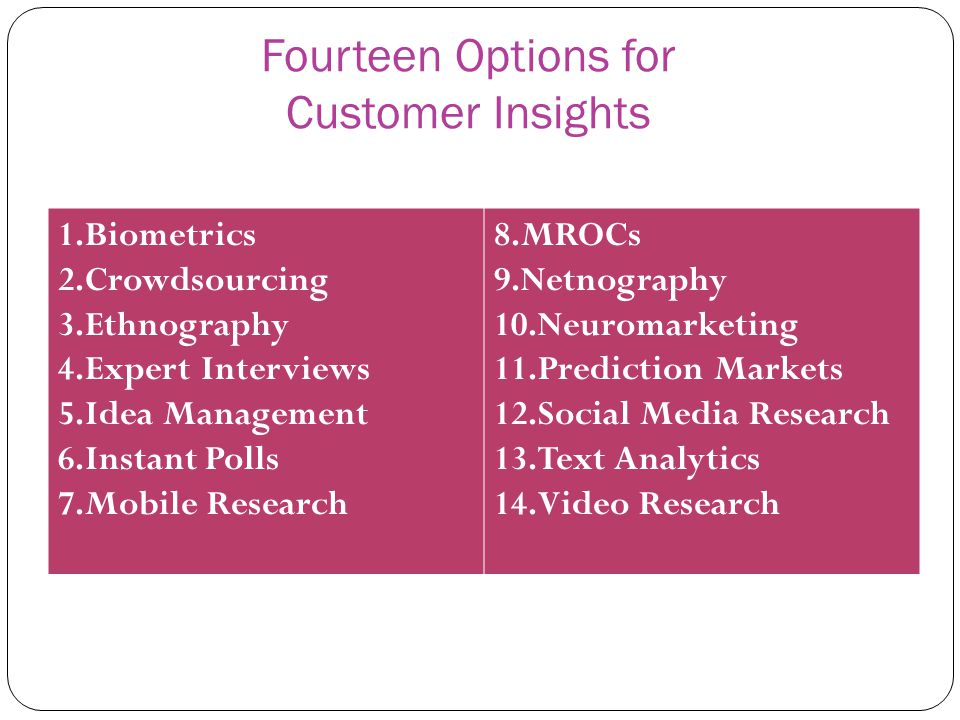 Fourteen Options for Customer Insights