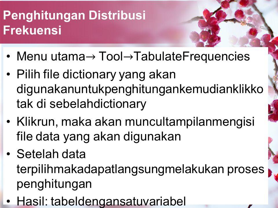 Penghitungan Distribusi Frekuensi