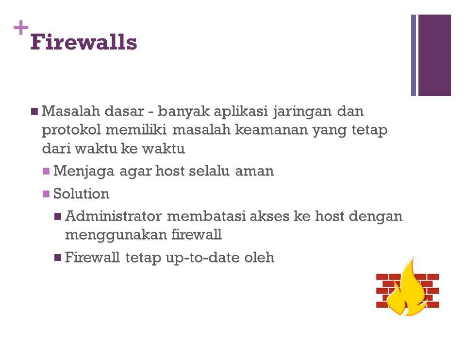 Firewalls Masalah dasar - banyak aplikasi jaringan dan protokol memiliki masalah keamanan yang tetap dari waktu ke waktu.