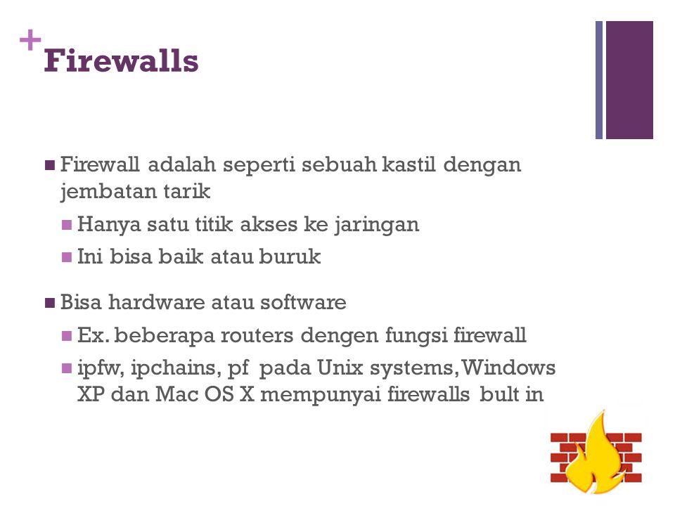 Firewalls Firewall adalah seperti sebuah kastil dengan jembatan tarik