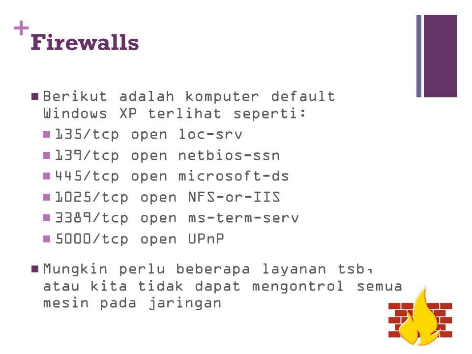 Firewalls Berikut adalah komputer default Windows XP terlihat seperti: