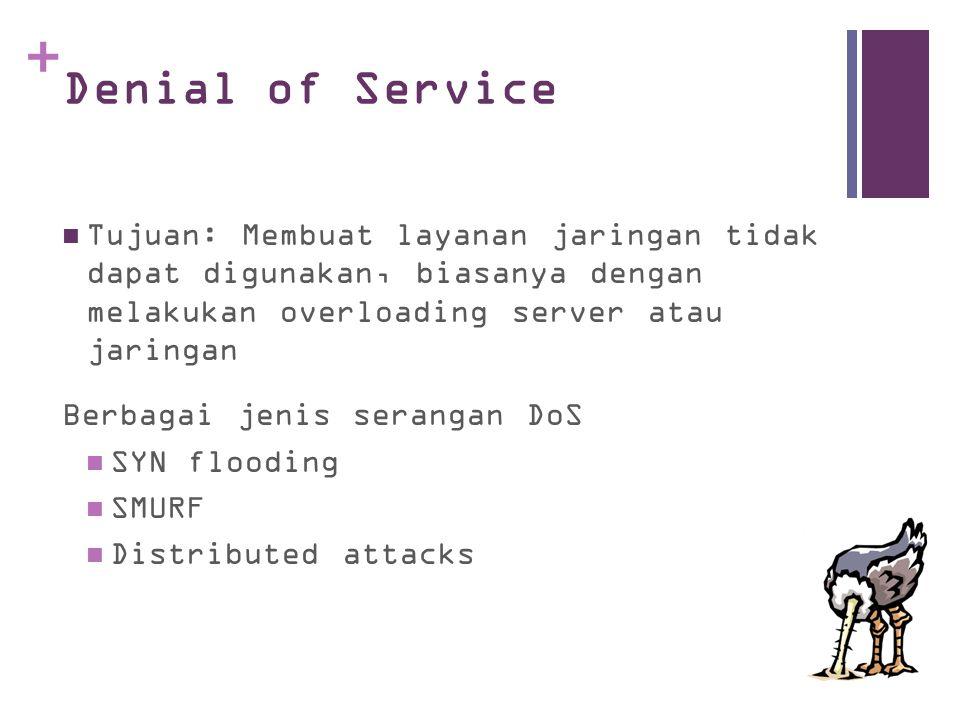 Denial of Service Tujuan: Membuat layanan jaringan tidak dapat digunakan, biasanya dengan melakukan overloading server atau jaringan.