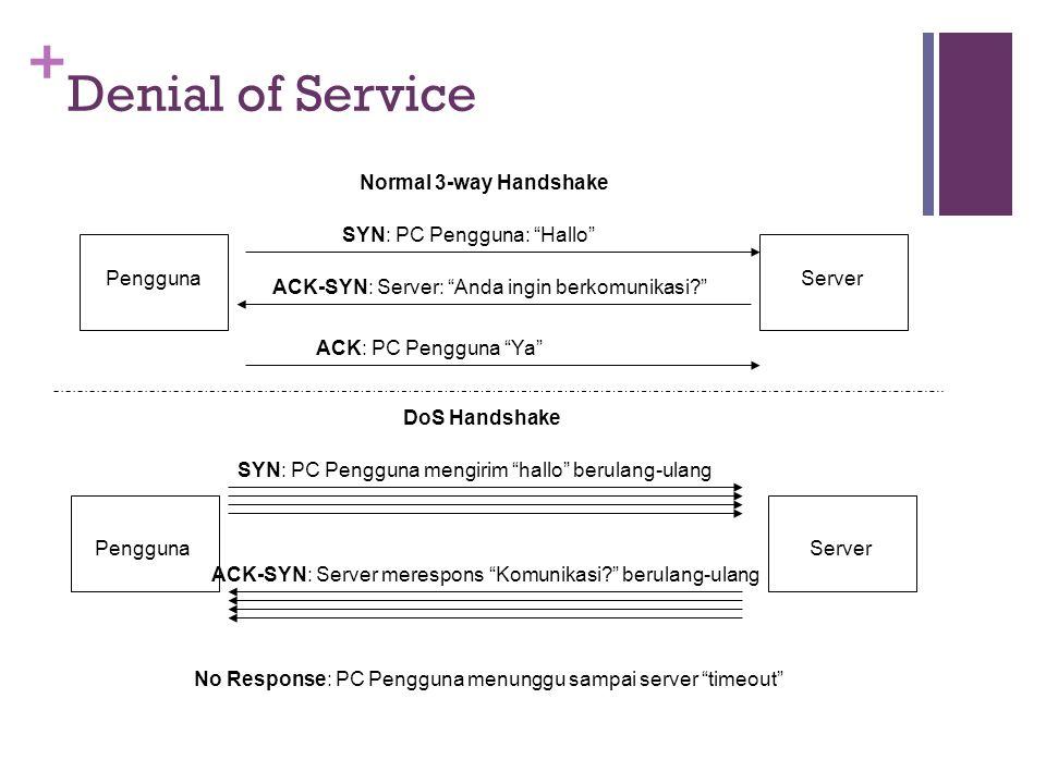 Denial of Service Normal 3-way Handshake SYN: PC Pengguna: Hallo