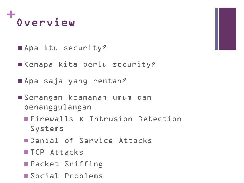 Overview Apa itu security Kenapa kita perlu security