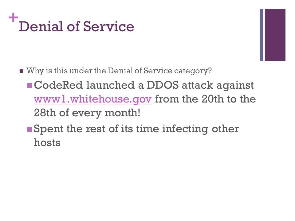 Denial of Service Why is this under the Denial of Service category