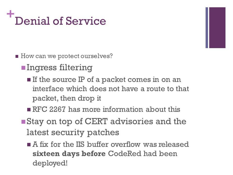 Denial of Service Ingress filtering