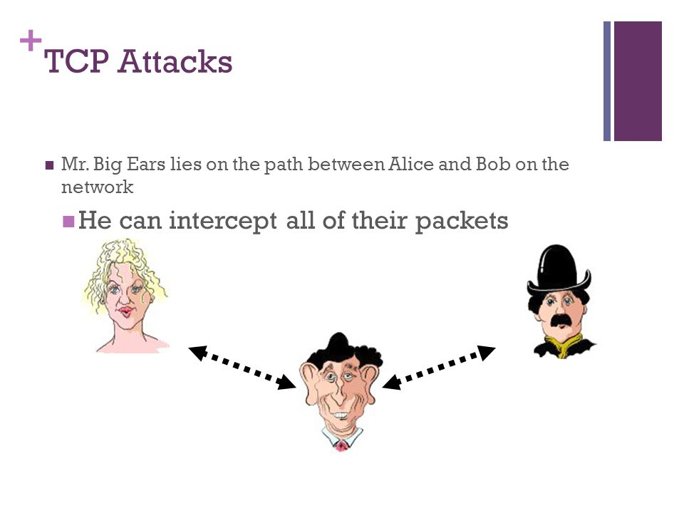 TCP Attacks He can intercept all of their packets