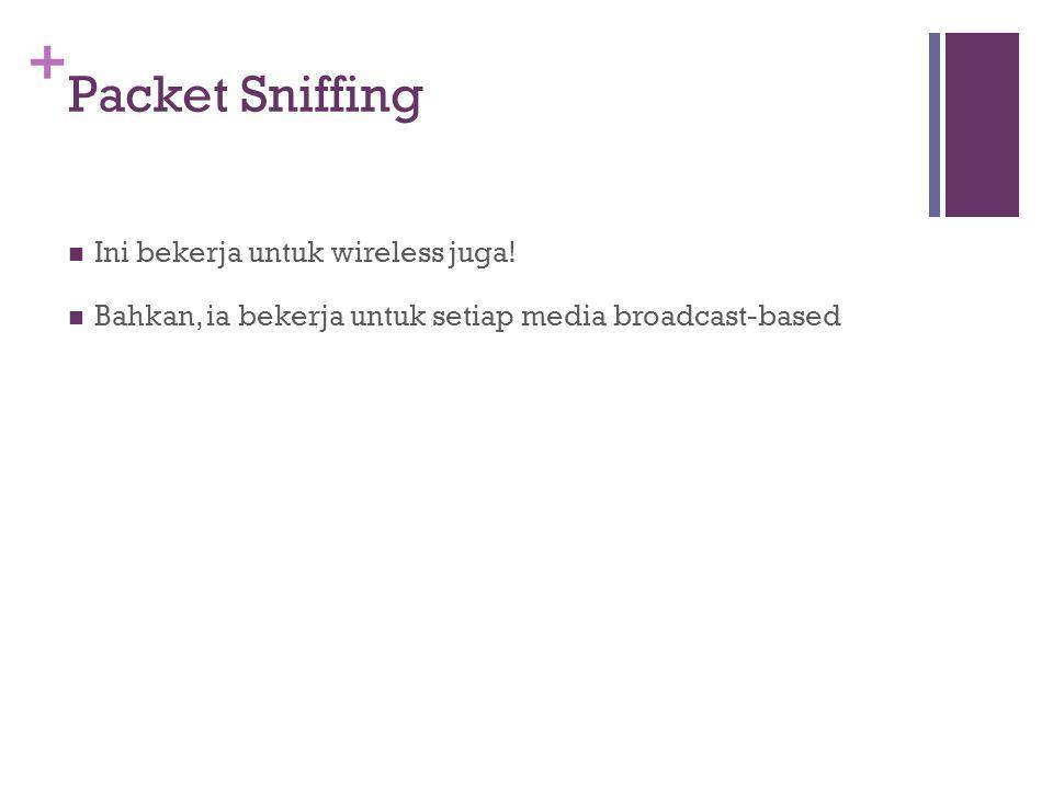 Packet Sniffing Ini bekerja untuk wireless juga!