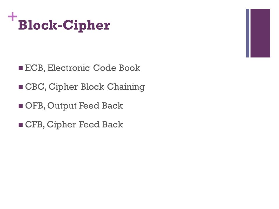 Block-Cipher ECB, Electronic Code Book CBC, Cipher Block Chaining