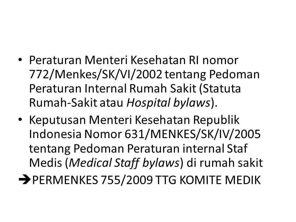 Peraturan Menteri Kesehatan RI nomor 772/Menkes/SK/VI/2002 tentang Pedoman Peraturan Internal Rumah Sakit (Statuta Rumah-Sakit atau Hospital bylaws).