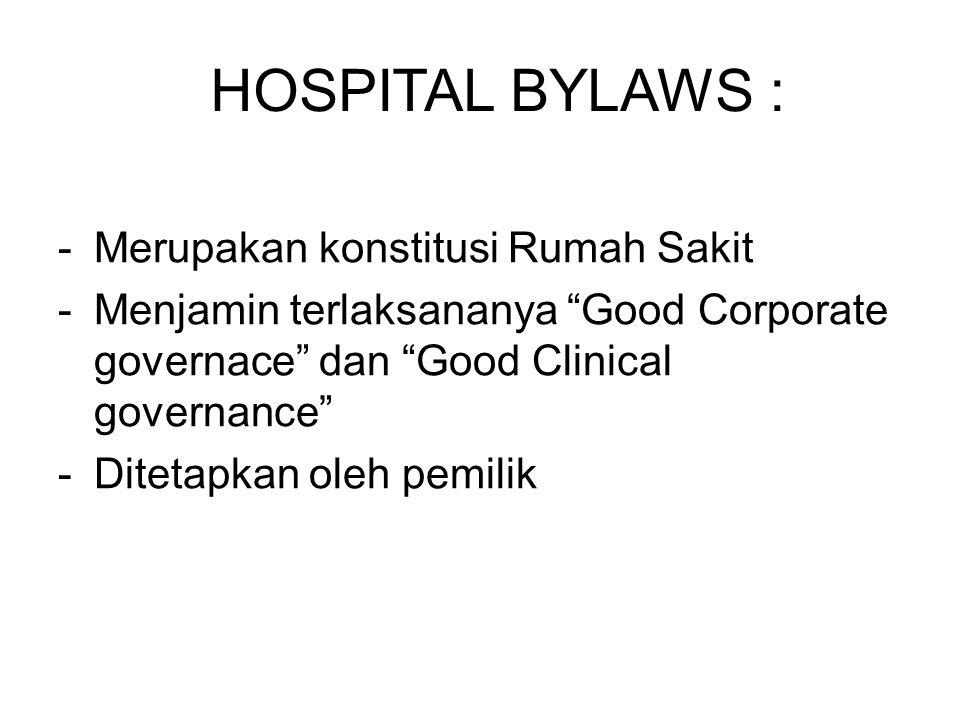 HOSPITAL BYLAWS : Merupakan konstitusi Rumah Sakit