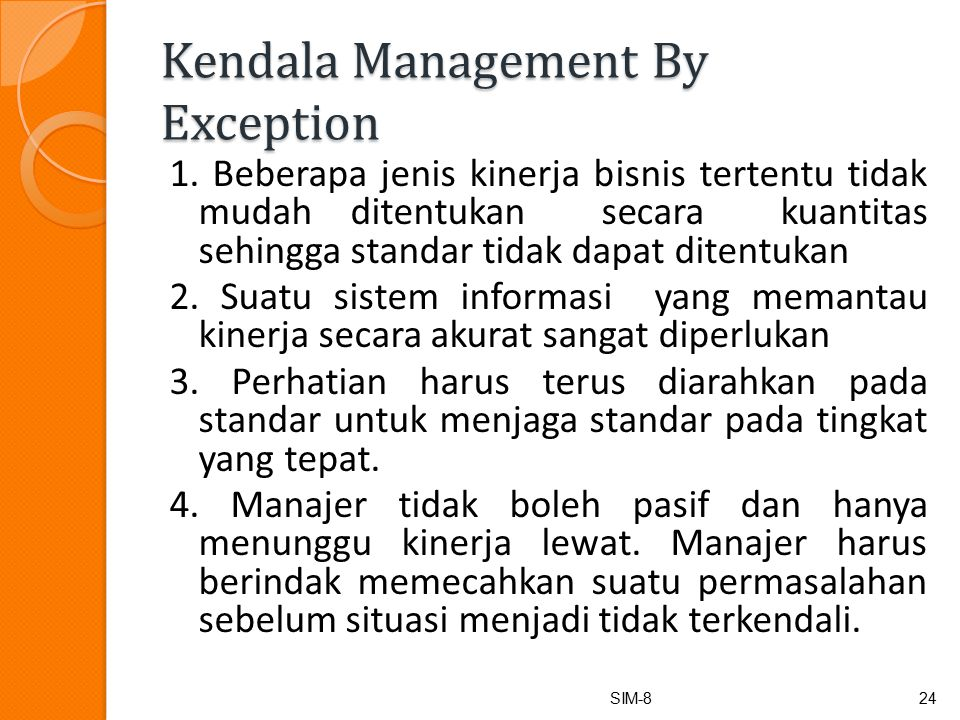 Kendala Management By Exception