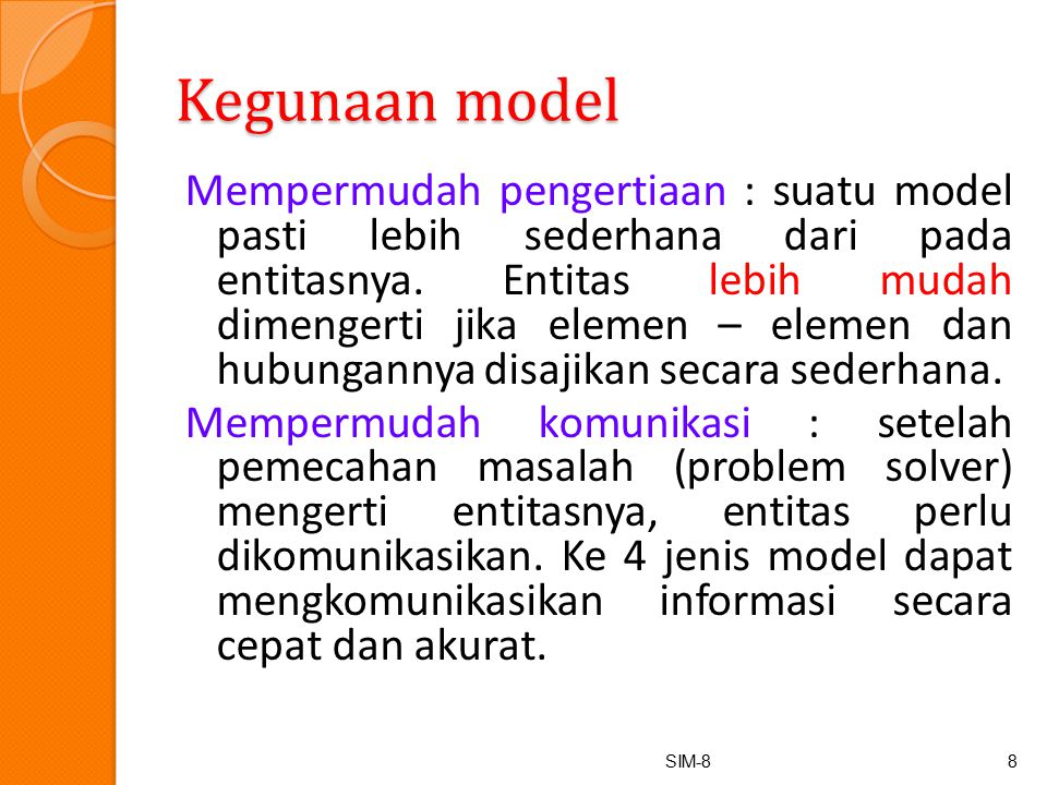 Kegunaan model
