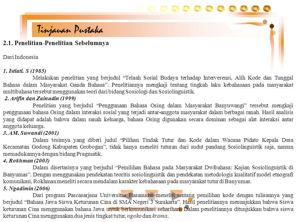 Tinjauan Pustaka 2.1. Penelitian-Penelitian Sebelumnya Dari Indonesia
