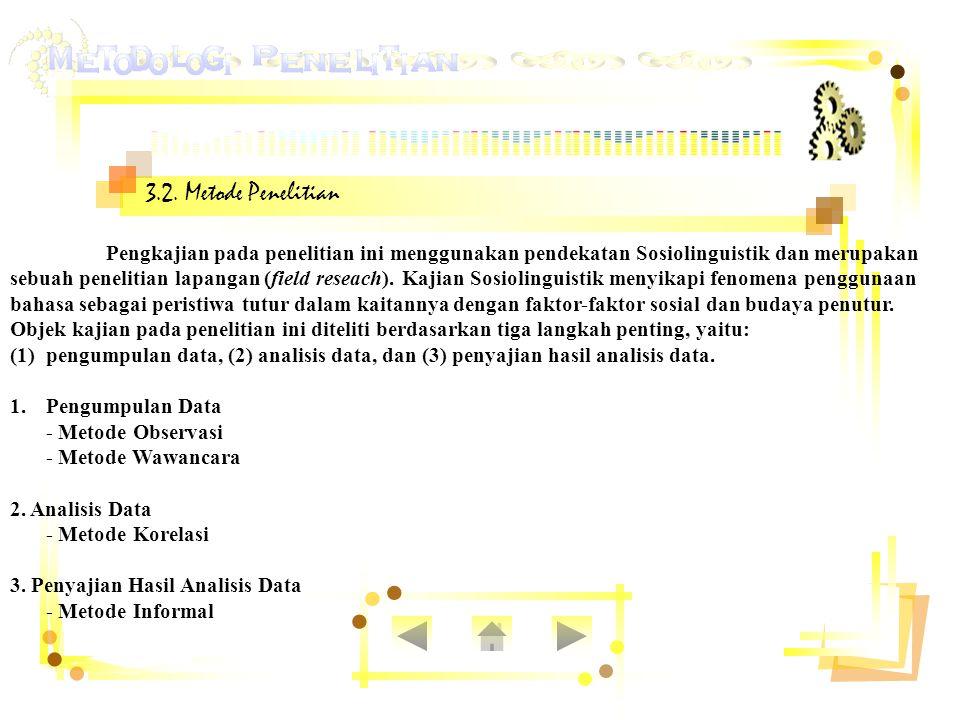 3.2. Metode Penelitian Pengkajian pada penelitian ini menggunakan pendekatan Sosiolinguistik dan merupakan.
