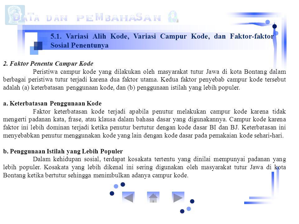 5.1. Variasi Alih Kode, Variasi Campur Kode, dan Faktor-faktor Sosial Penentunya