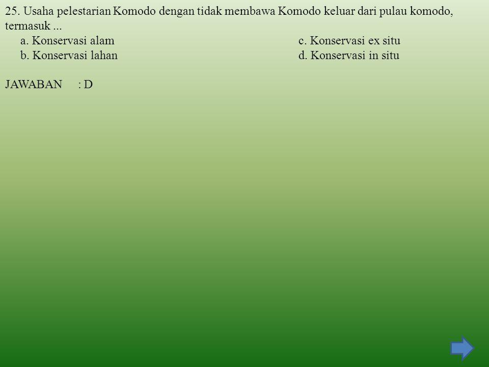 25. Usaha pelestarian Komodo dengan tidak membawa Komodo keluar dari pulau komodo, termasuk ...