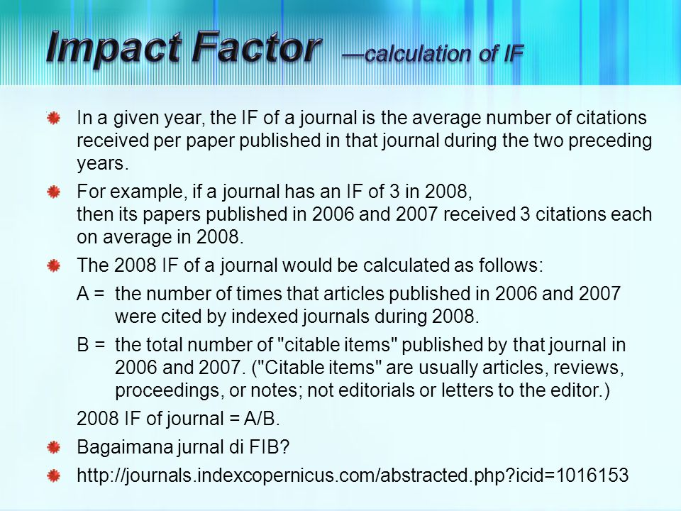 Impact Factor ―calculation of IF