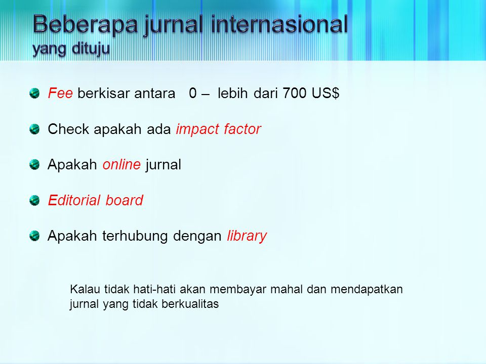 Beberapa jurnal internasional yang dituju