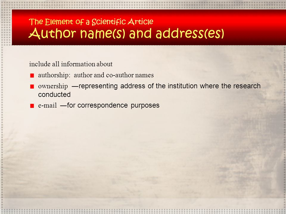 Author name(s) and address(es)
