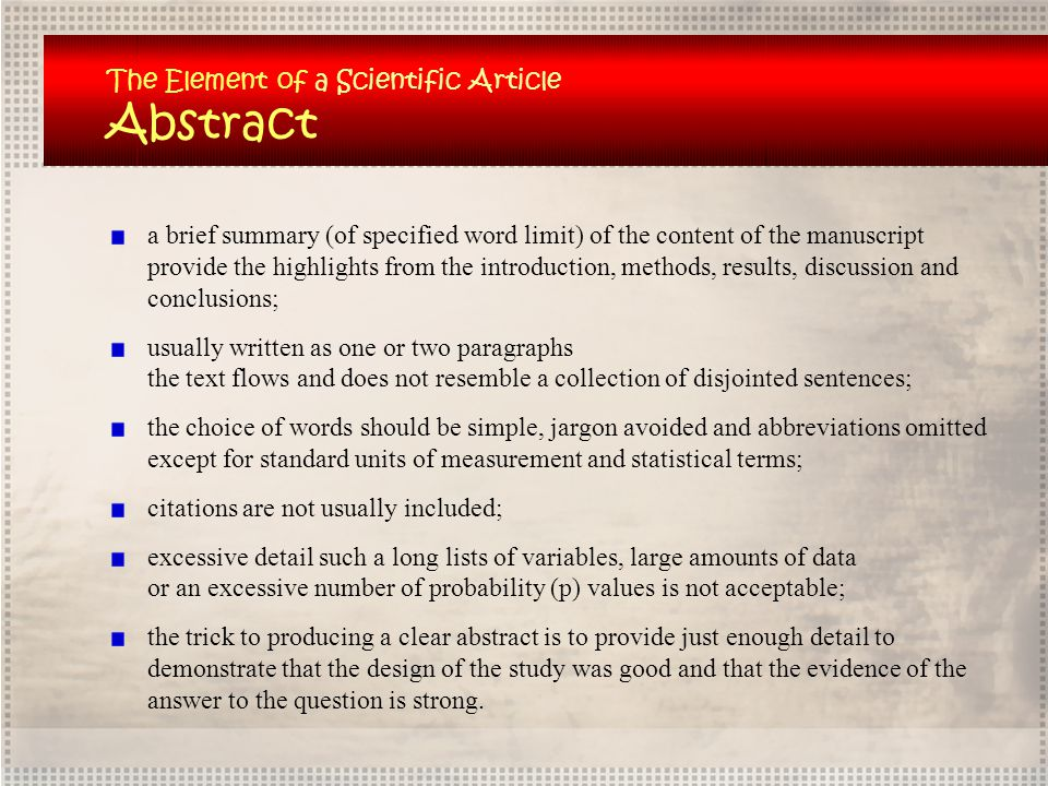 Abstract The Element of a Scientific Article