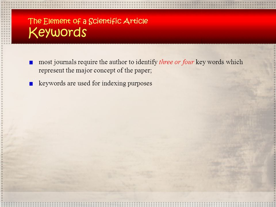 Keywords The Element of a Scientific Article
