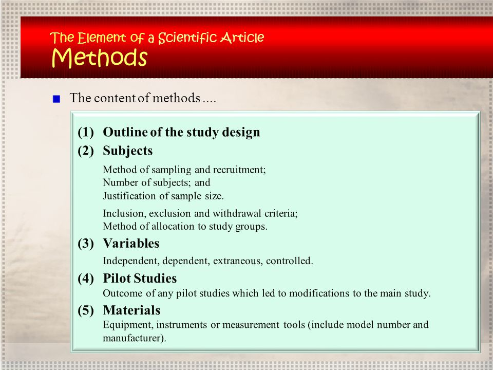 Methods The content of methods .... Outline of the study design