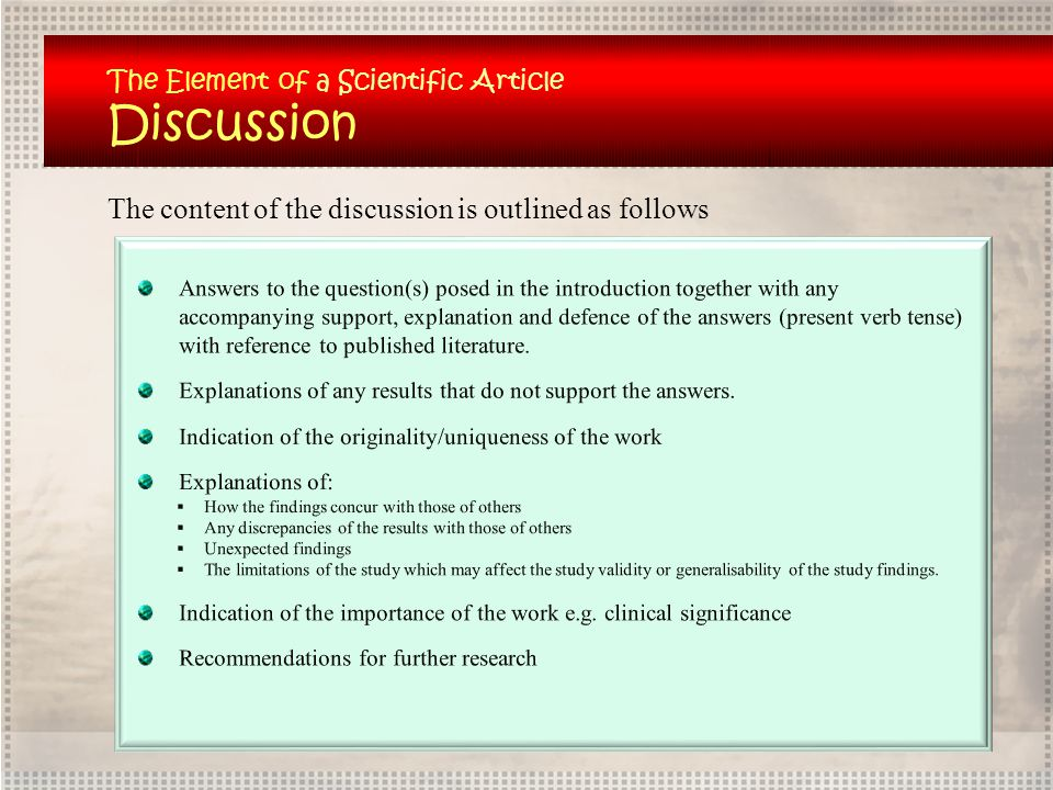 Discussion The content of the discussion is outlined as follows