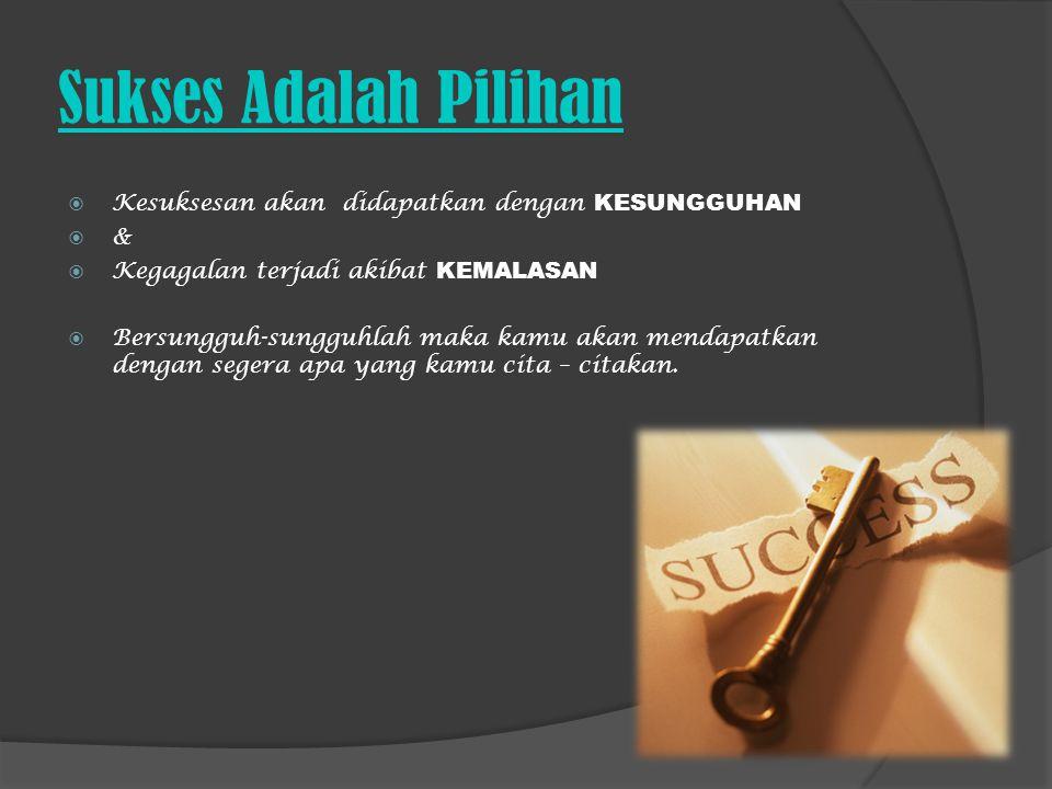 Sukses Adalah Pilihan Kesuksesan akan didapatkan dengan KESUNGGUHAN &