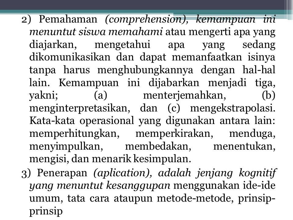 2) Pemahaman (comprehension), kemampuan ini menuntut siswa memahami atau mengerti apa yang diajarkan, mengetahui apa yang sedang dikomunikasikan dan dapat memanfaatkan isinya tanpa harus menghubungkannya dengan hal-hal lain.