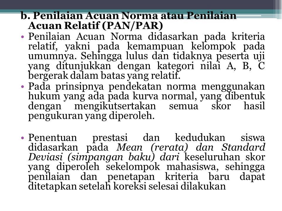 b. Penilaian Acuan Norma atau Penilaian Acuan Relatif (PAN/PAR)