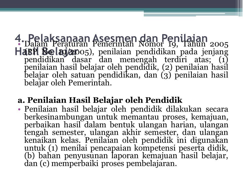 4. Pelaksanaan Asesmen dan Penilaian Hasil Belajar