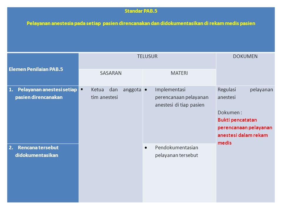 Standar PAB.5 Pelayanan anestesia pada setiap pasien direncanakan dan didokumentasikan di rekam medis pasien.