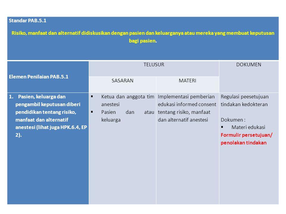 Standar PAB.5.1 Risiko, manfaat dan alternatif didiskusikan dengan pasien dan keluarganya atau mereka yang membuat keputusan bagi pasien.