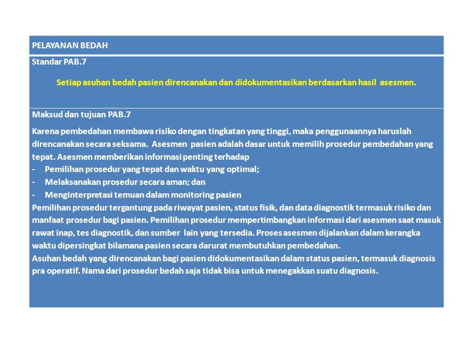 PELAYANAN BEDAH Standar PAB.7. Setiap asuhan bedah pasien direncanakan dan didokumentasikan berdasarkan hasil asesmen.