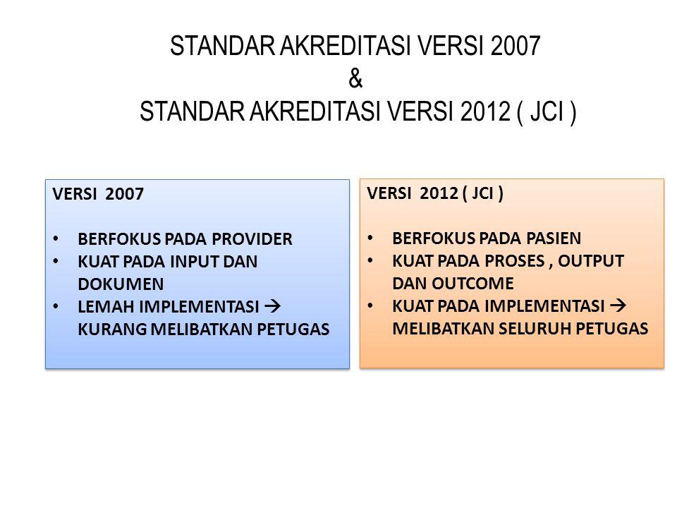 STANDAR AKREDITASI VERSI 2007 & STANDAR AKREDITASI VERSI 2012 ( JCI )