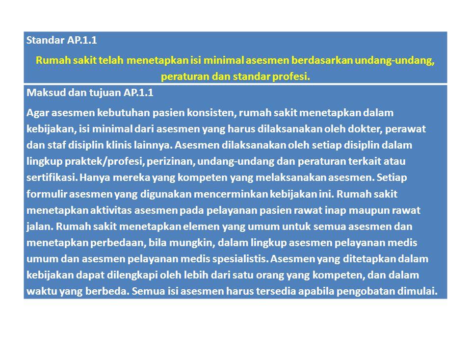 Standar AP.1.1 Rumah sakit telah menetapkan isi minimal asesmen berdasarkan undang-undang, peraturan dan standar profesi.