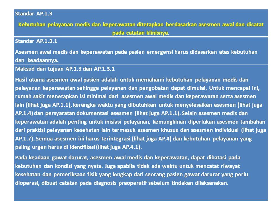 Standar AP.1.3 Kebutuhan pelayanan medis dan keperawatan ditetapkan berdasarkan asesmen awal dan dicatat pada catatan klinisnya.