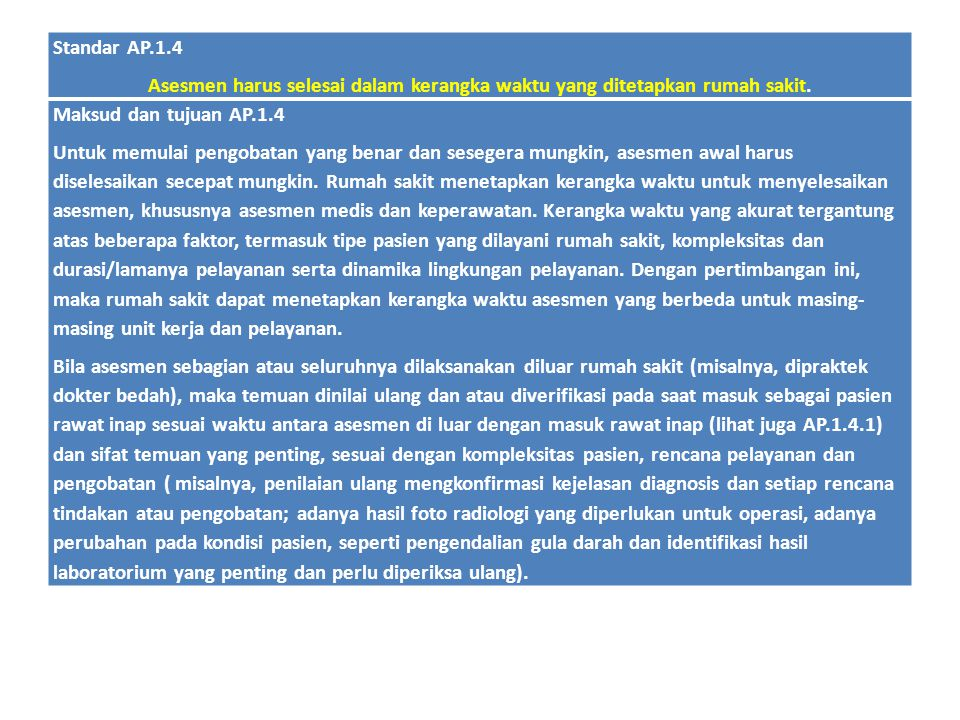 Standar AP.1.4 Asesmen harus selesai dalam kerangka waktu yang ditetapkan rumah sakit. Maksud dan tujuan AP.1.4.