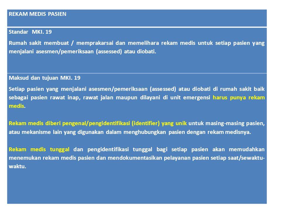 REKAM MEDIS PASIEN Standar MKI. 19.